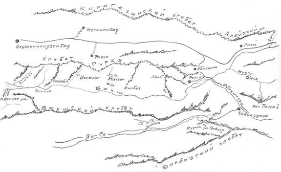 Схема района работ на южных